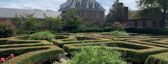 Governor's Palace Maze (center) is one of Colonial Williamsburg.
