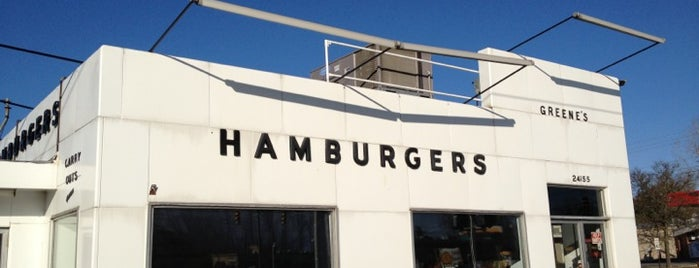 Greene's Hamburgers is one of Out of Town Burgers.