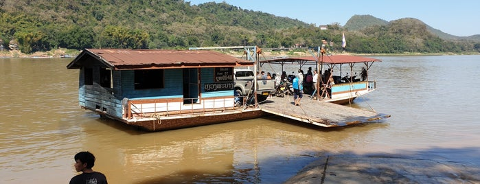 Across the Mekon river boat pier is one of Laos.