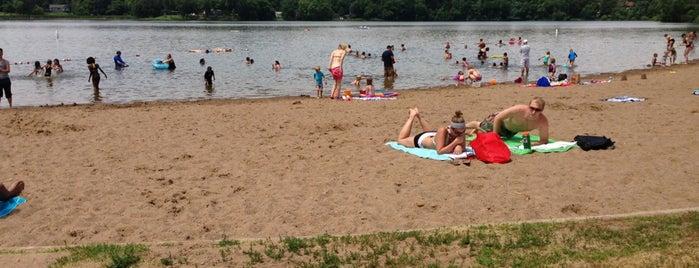 Carver lake beach is one of Tempat yang Disukai Aaron.