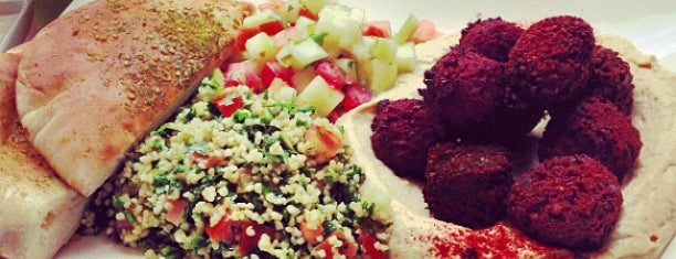 Taïm Falafel and Smoothie Bar is one of NYC - Smoothies, Cafes, Lunch, Snacks.