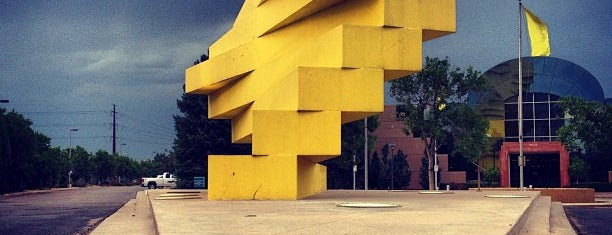 Articulated Wall (yellow sculpture) is one of Sculptures and Artwork Around Denver.