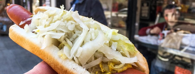 Frankel's Delicatessen is one of The 11 Best Hot Dogs In NYC.