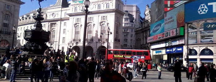 Piccadilly Circus is one of London, Greater London UK.