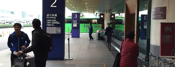 桃園機場 二期 1F 聯外客運巴士上車處 is one of Taipei Travel - 台北旅行.