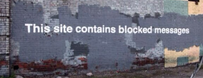 Banksy :: #27 This Site Contains Blocked Messages is one of New York - TODO.