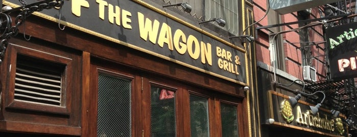 Off The Wagon Bar & Grill is one of the man's hat is tan.