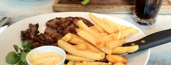 Black & Blue is one of London restaurants/bars visited.