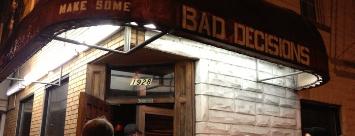 Bad Decisions is one of Baltimore Sun's 50 Best Bars (2013).