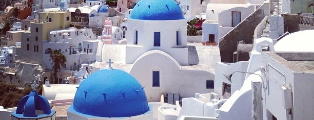 Oia is one of Santorini + Mykonos.
