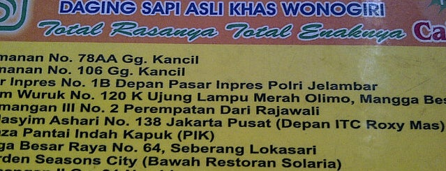 Bakso Rusuk Total Solo is one of Jkt resto.