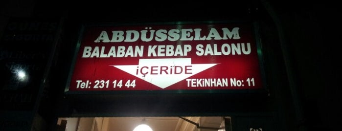 Abdüsselam Balaban Kebap Salonu is one of Türkiye Mekanlar.