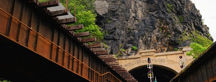 Amtrak - Harpers Ferry Station (HFY) is one of Bikabout's Guide to the GAP Trail and C&O Towpath.