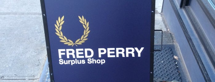 Fred Perry Surplus Shop is one of NYC Men's Shops.