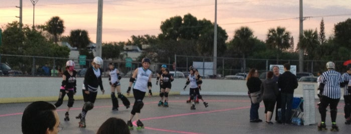"Miami' Vice City Rollers ""Roll Cage"" Roller Derby rink is one of Fly me to the moon."
