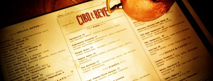 Cibo e Beve is one of Jezebel Magazine's 100 Best Restaurants 2013.