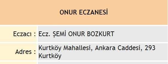 Onur Eczanesi is one of Pendik Eczaneleri.