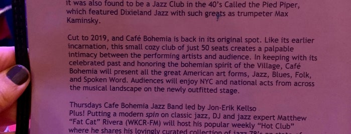 Cafe Bohemia is one of NY- not food.