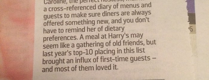 Harry's Place is one of The Sunday Times-UK Top 100 Restaurants.