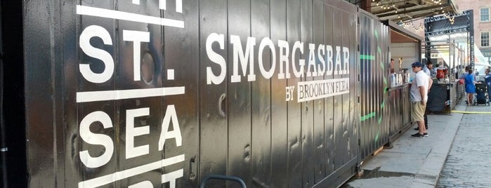 Smorgasbar @ Seaport Smorgasburg is one of nyc - outdoor wine/dine.