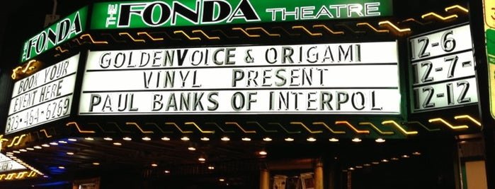 The Fonda Theatre is one of concert venues 1 live music.