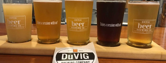 DuVig Beer Brewing Co. is one of Emily and Leo date nite spots.