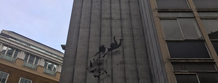 Banksy - Falling Shopper is one of My London tips!.