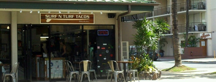 Surf N Turf Tacos Waikiki is one of Tempat yang Disukai Jason.