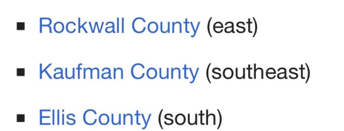 Dallas County is one of สถานที่ที่บันทึกไว้ของ Doreen.