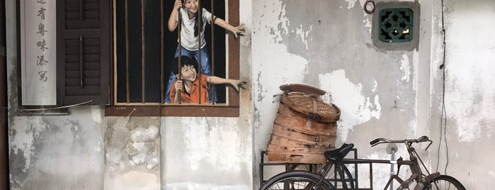 Penang Street Art : Boy and Girl Want Pau is one of Penang Art.