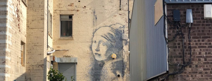 """Banksy's """"Girl with the Pierced Eardrum"""" is one of Bright Bristol and surroundings."""