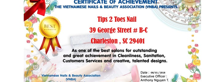 Tips 2 Toes is one of Charleston.
