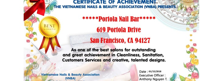 Portola Nail Salon is one of Isabellaさんのお気に入りスポット.