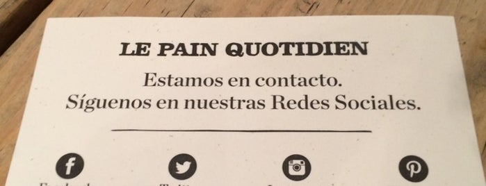 Le Pain Quotidien is one of MEX DF.