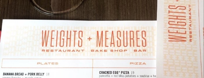 Weights + Measures is one of HAPPY HOUR.