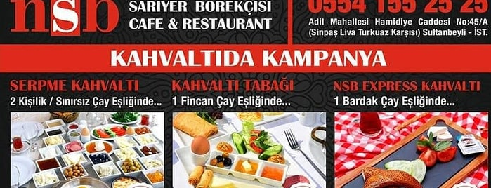 Nsb Sarıyer Börekcisi Cafe Restaurant is one of สถานที่ที่ Bilge Ibrahim ถูกใจ.
