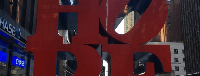 HOPE Sculpture by Robert Indiana is one of NYC.