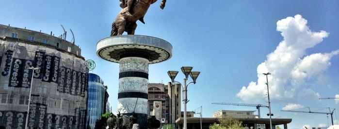 "Фонтана ""Воин на коњ""  / ""Warrior on a horse"" fountain is one of Skopje."