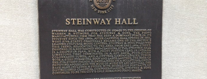 Steinway Hall is one of New Yorkers About Town ( NY ).