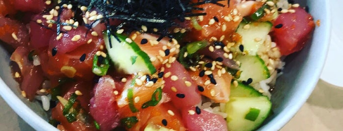 SeaSide Poke is one of Where to Eat & Drink Before and After Grace Hopper.