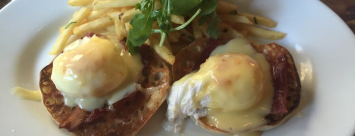 Extra Virgin is one of NYC's Best Eggs Benedict Dishes.