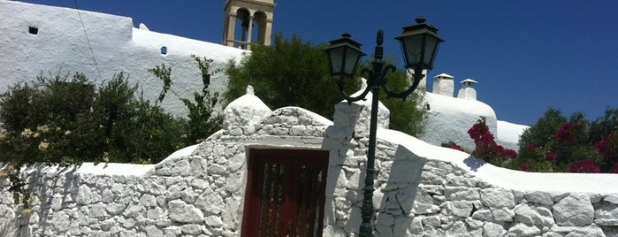 Panagia Tourliani Monastery is one of Santorini + Mykonos.