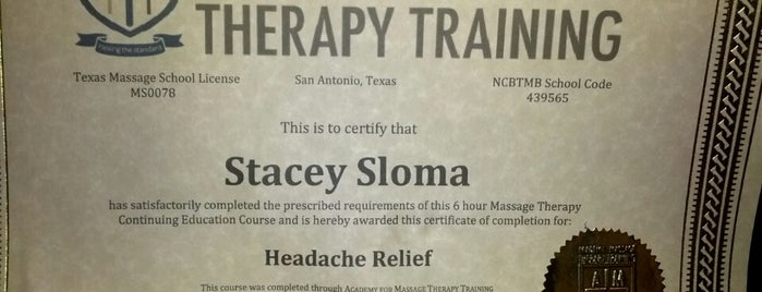 Academy For Massage Therapy Training is one of Worthy of Repeating...Again.