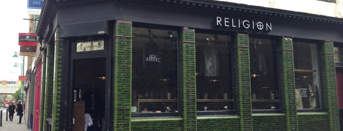 Religion Clothing Brick Lane is one of The Fashionista's Guide to London, UK.
