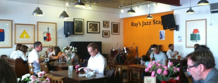 Ray's Jazz Cafe at Foyles is one of Coffee Shops in London to work from.