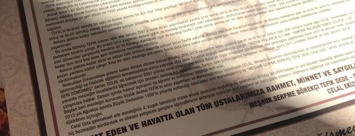 Meşhur Serpme Börekçi TEFİK Dede - Celal Usta is one of ANTALYA YEMEK MEKANLARI 🍴🍗🍲🍳🍝🍜🍩🍰🍕🍔🍤🍦🍨.