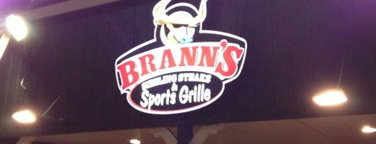 Brann's Sizzling Steaks & Sports Grille is one of Tempat yang Disukai Amy.