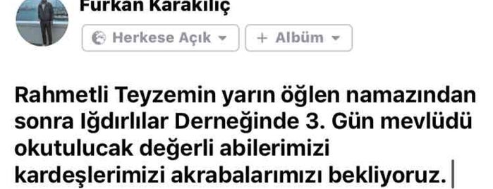 Iğdırlılar Derneği is one of Orte, die İsim Yok gefallen.