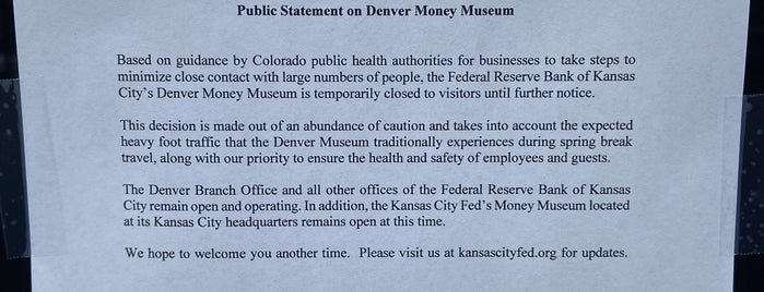 Money Museum At The Federal Reserve is one of Denver.