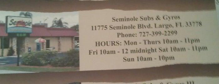Seminole subs and Gyros is one of Posti salvati di Justin.